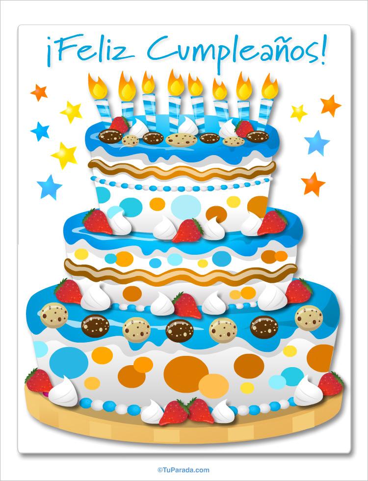 Tarjeta - Torta de cumpleaños gigante en azul