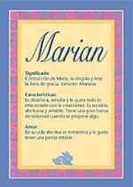 Nombre Marian