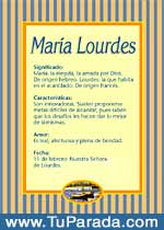 Nombre María Lourdes