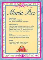 Nombre María Paz