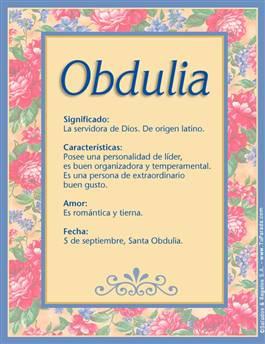 Nombre Obdulia
