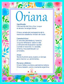 Nombre Oriana