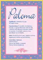 Nombre Paloma