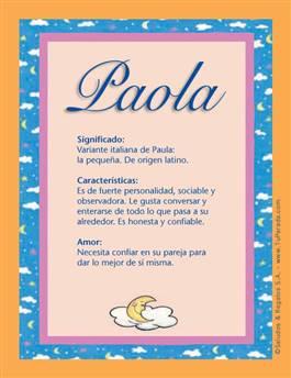 Nombre Paola