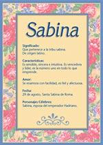 Nombre Sabina