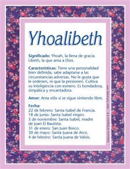 Nombre Yhoalibeth