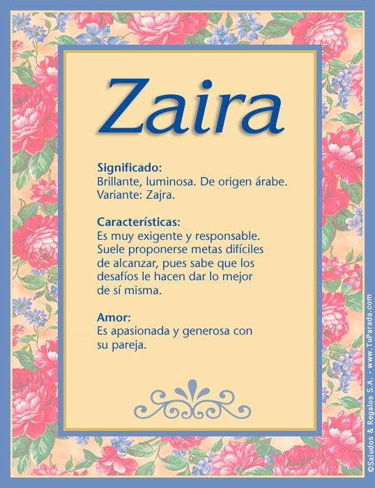 Zaira Z, tarjetas