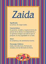 Nombre Zaida