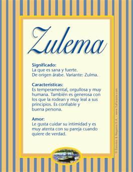 Nombre Zulema