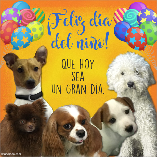 Tarjeta - Feliz día del niño con saludo de perritos