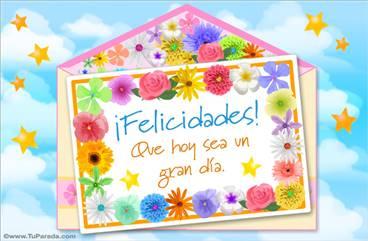 Tarjeta de felicidades y flores