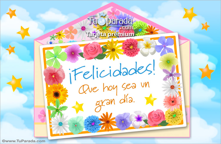 Tarjeta - Tarjeta de felicidades y flores