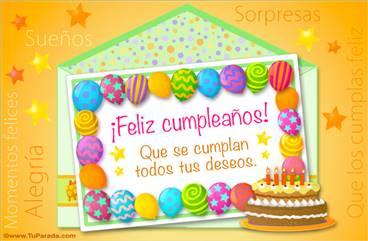 Ecard de cumpleaños de globos