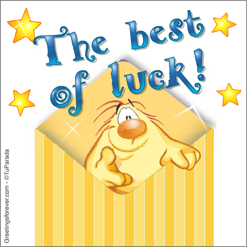 Ecard - Best of luck wishes in envelope.