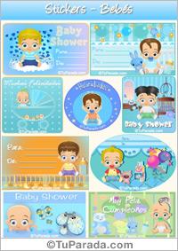 Stickers de nacimiento en celeste