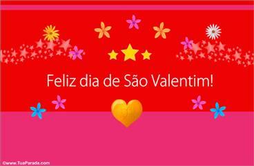 Cartão Feliz dia de São Valentim vermelho