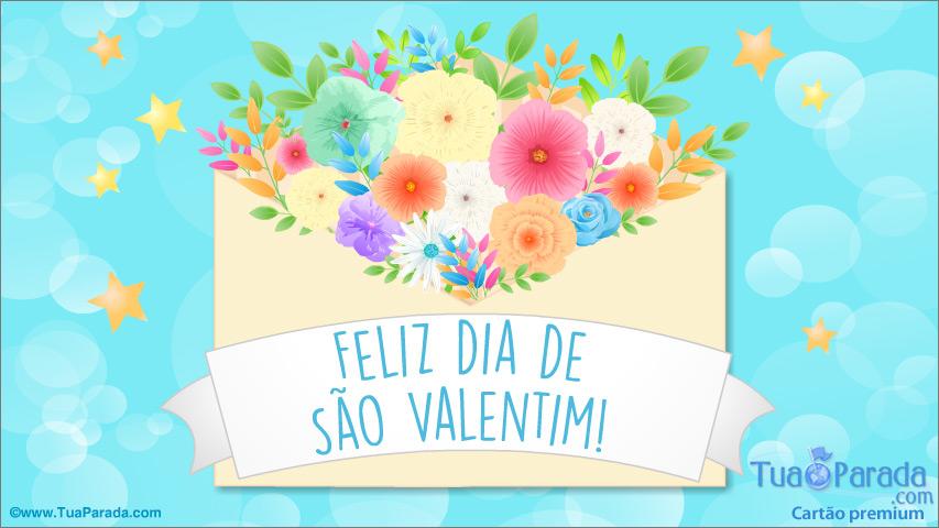 Cartão - Cartão do Valentim com flores