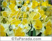 Feliz día con flores amarillas