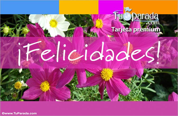 Tarjeta - Felicidades con flores en lila y rosa
