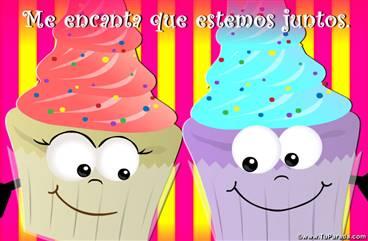 Tarjeta de amor con cupcakes