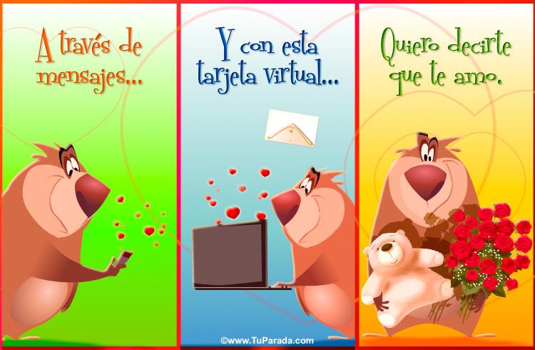 Tarjeta - Tarjeta con oso para decir te amo