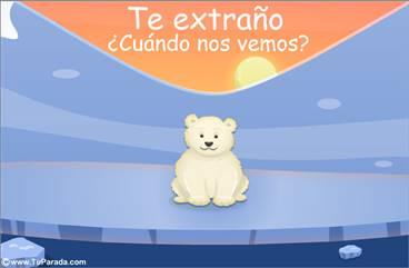 Tarjeta de te extraño de osito polar