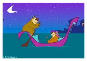 Tarjeta de osos en góndola
