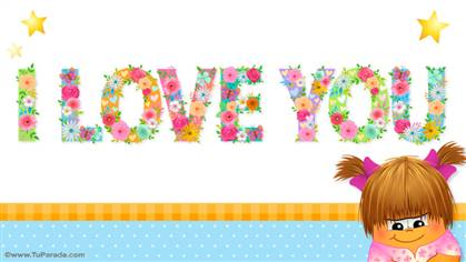 Tarjeta de I love you en letras decoradas con flores.