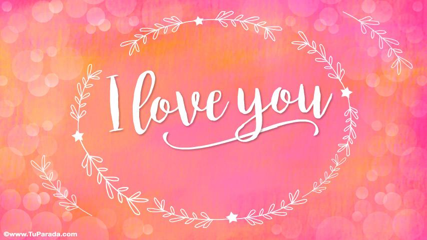 Tarjeta - I love you en colores pastel