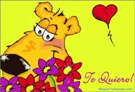Nuestro amor con oso y flores