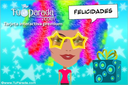 Tarjeta - Modelo Felicidades Pop Art de mujer