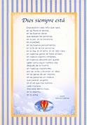 Tarjetón Poema: Dios siempre está.
