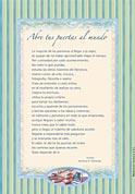 Tarjetón Poema: Abre tus puertas al mundo.