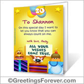 Printable card: All your wishes come true - For Desktop