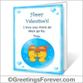 Printable card: With love on Valentine's Day