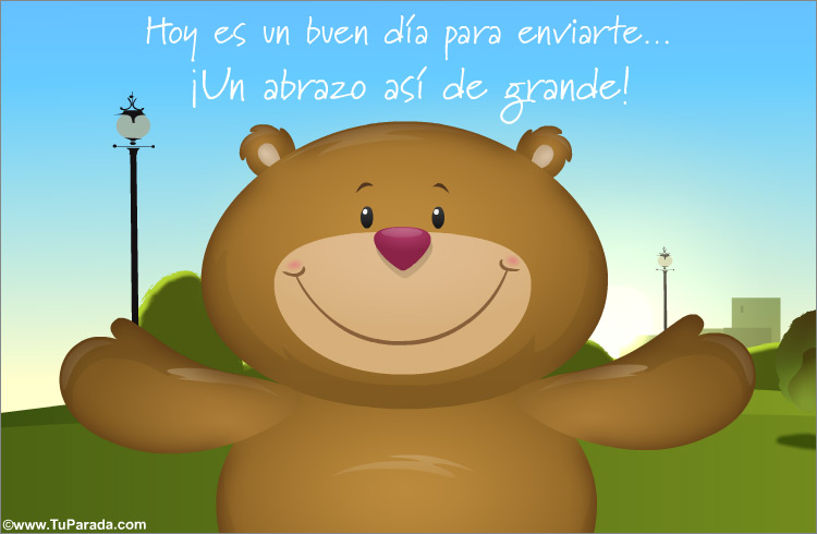 Tarjeta - Tarjeta de abrazo con oso