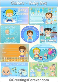 Stickers for birth of baby in blue