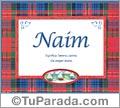 Nombre Tarjeta con imagen de Naim para feliz cumpleaños