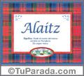 Alaitz - Significado y origen