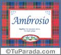 Ambrosio - Significado y origen