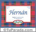 Nombre Tarjeta con imagen de Hernán para feliz cumpleaños