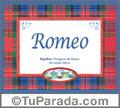 Nombre Tarjeta con imagen de Romeo para feliz cumpleaños