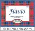Nombre Tarjeta con imagen de Flavio para feliz cumpleaños