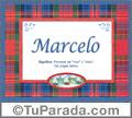 Nombre Tarjeta con imagen de Marcelo para feliz cumpleaños