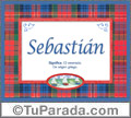 Nombre Tarjeta con imagen de Sebastián para feliz cumpleaños