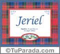 Jeriel, nombre, significado y origen de nombres