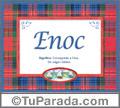 Nombre Tarjeta con imagen de Enoc para feliz cumpleaños