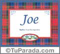 Joe, nombre, significado y origen de nombres
