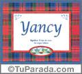 Yancy, nombre, significado y origen de nombres