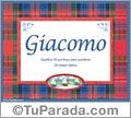 Nombre Tarjeta con imagen de Giacomo para feliz cumpleaños